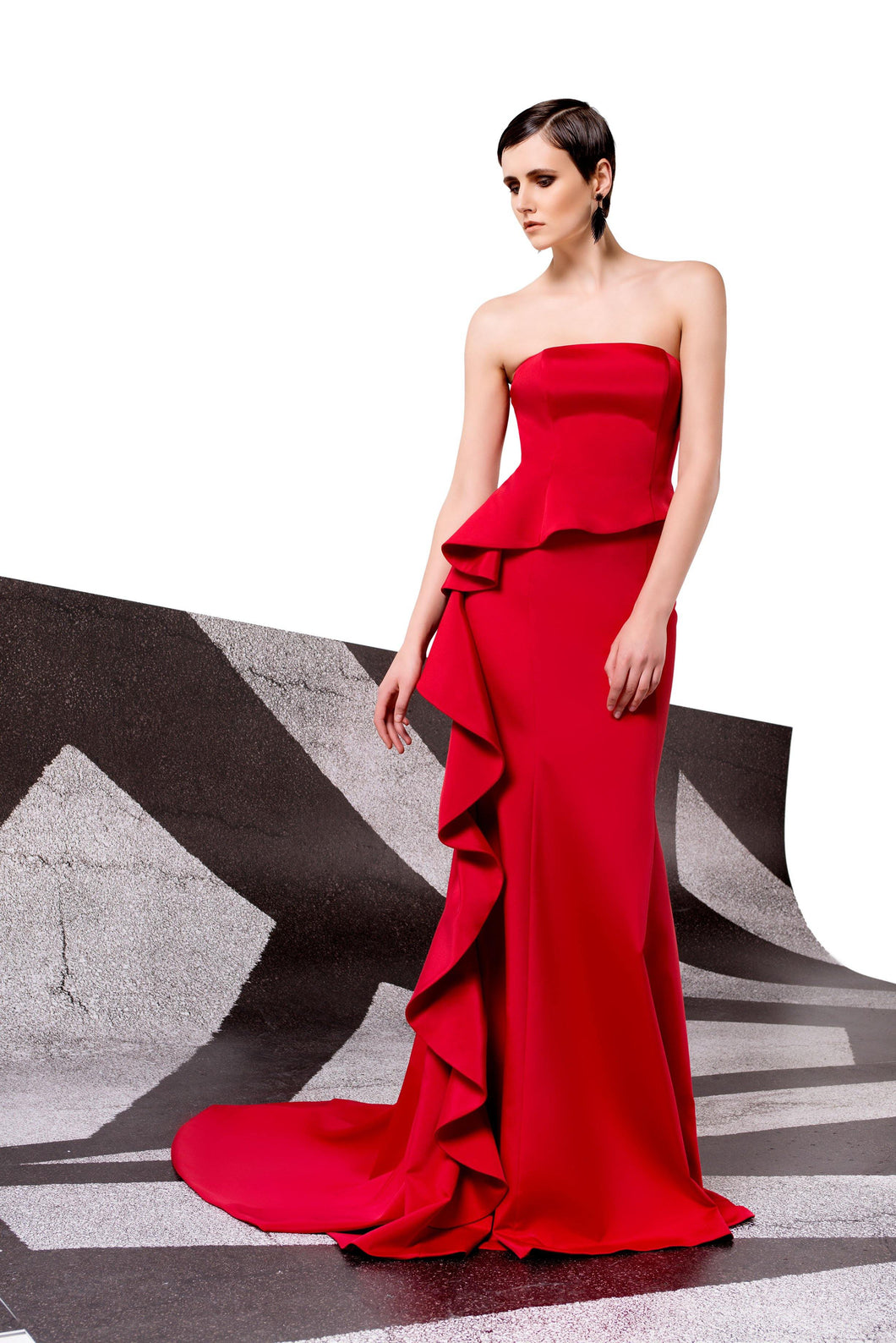 Faille Strapless Ruffle Front Gown with Asymmetrical Peplum