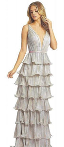 Metallic V-Neck Pleated Tiered Gown. Zips off to Cocktail Dress