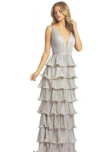 Metallic V-Neck Pleated Tiered Gown. Zips off to Cocktail Dress - Mieka Boutique