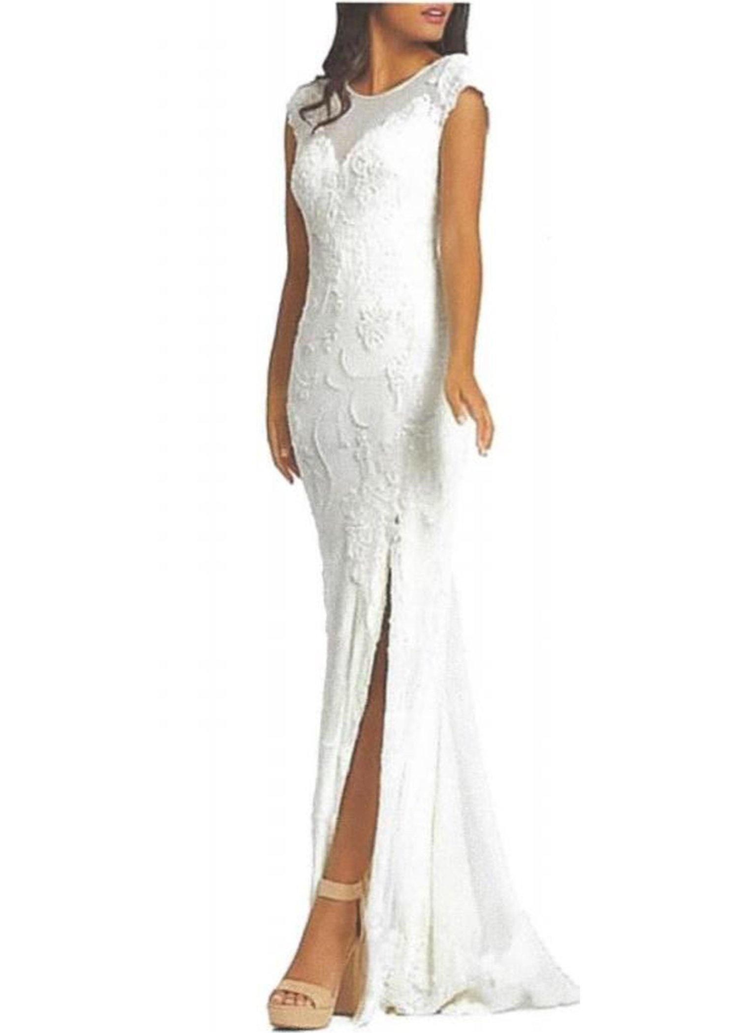 Cap Sleeve Beaded, Lace & Net Gown