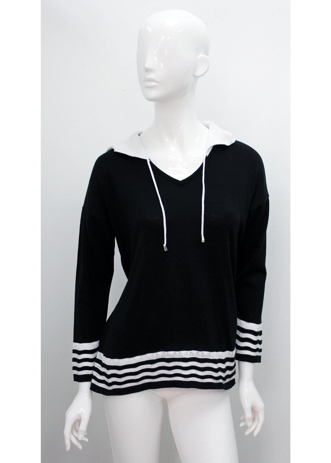 Zig Zag Trim Pull Over with hood - Mieka Boutique