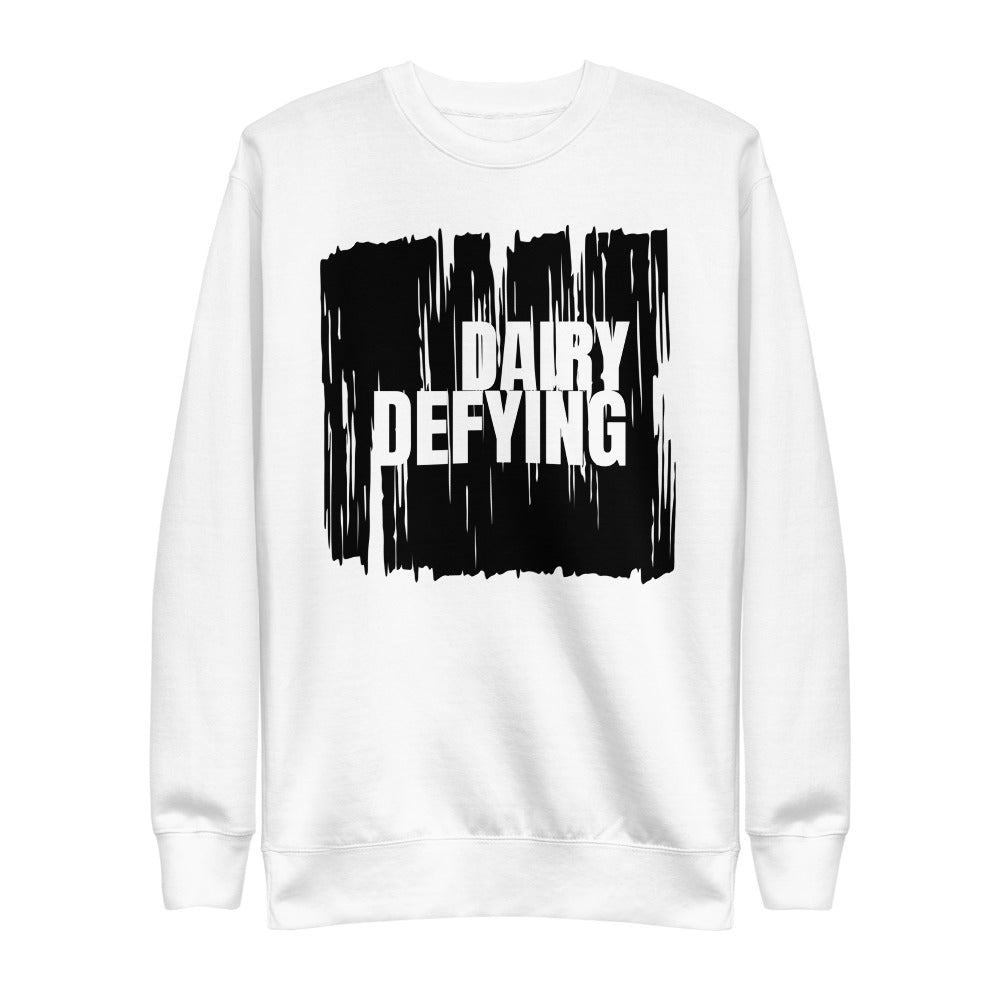 white sweatshirt with dairy defying print