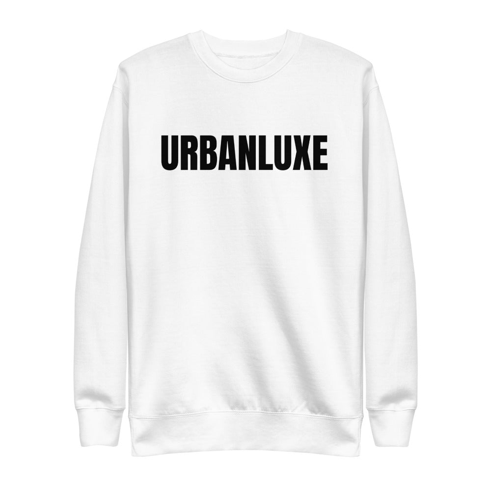 white sweatshirt with urbanluxe print