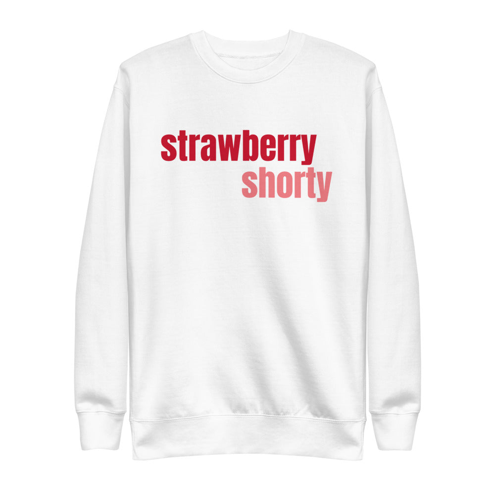 white sweatshirt with strawberry shorty print