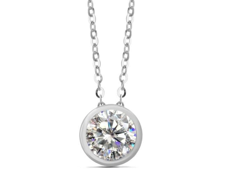 Round Moissanite  Necklace  Silver / Gold