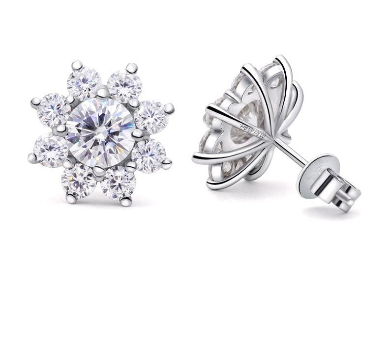 Moissanite Flower Earrings