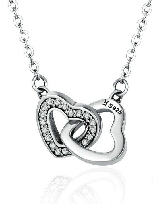 Sterling Silver Connected Hearts Necklace