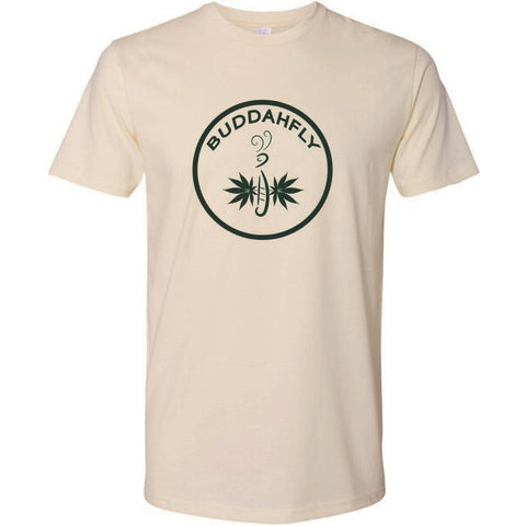Buddahfly T-Shirt, Cream with Green Logo