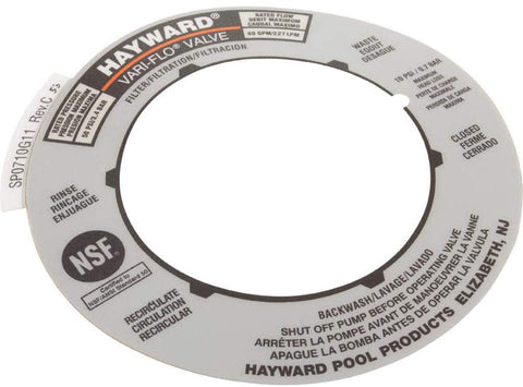 Hayward SPX0710G Label Plate Replacement for multiport Valve