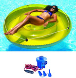 "Swimline 9050 Swimming Pool 72"" Island Floating Lounger w/ 12 Volt Air Pump"