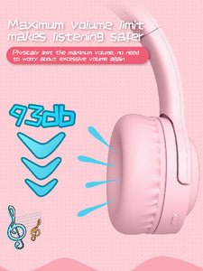 Pink Picun Children Hearing Protecting Bluetooth Headphone 35 Hr Play Time Fast Charge Eco Friendly