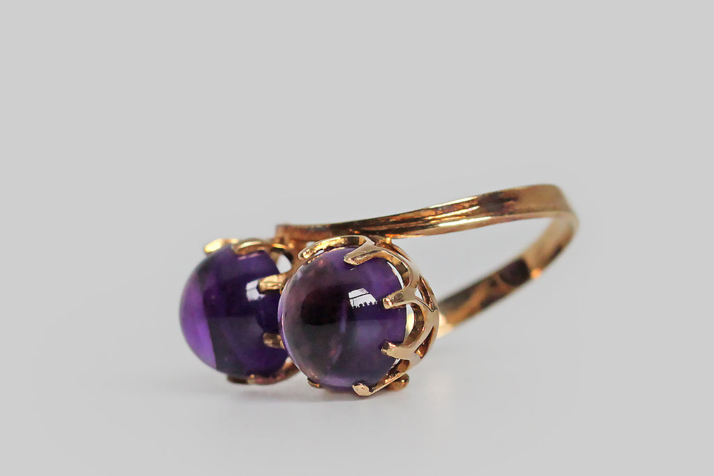 1960s Modernist Amethyst Orbs Bypass Ring in 10k Gold