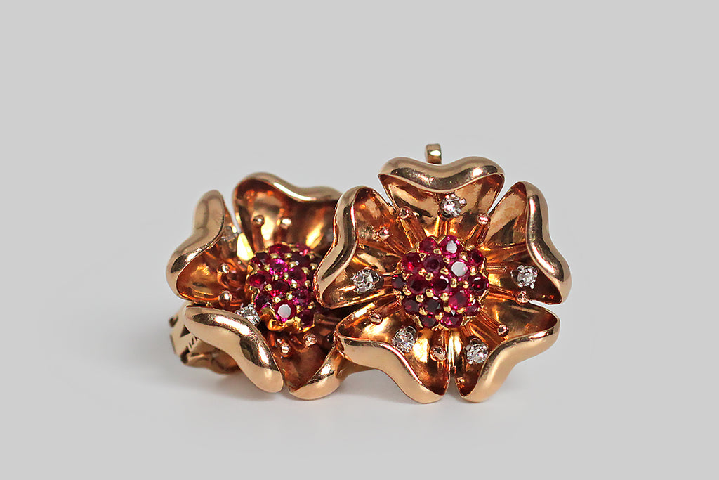 Retro Era Poppy Flower Ruby & Diamond Earrings in 14k Rose Gold