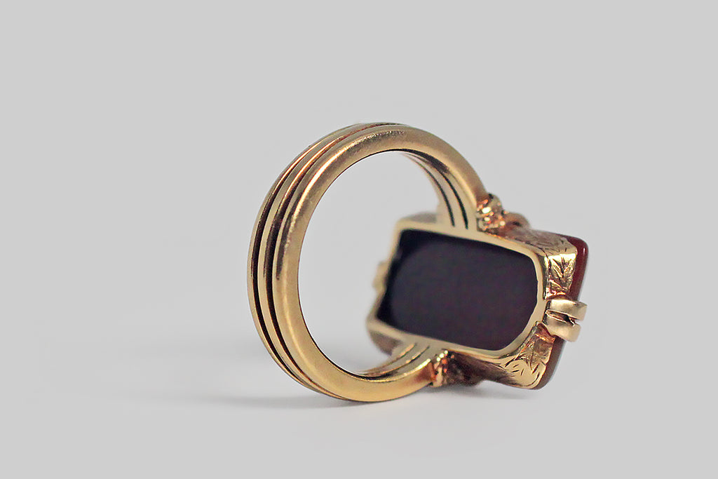 Victorian Era Hardstone Falcon Intaglio Ring in 18k Gold