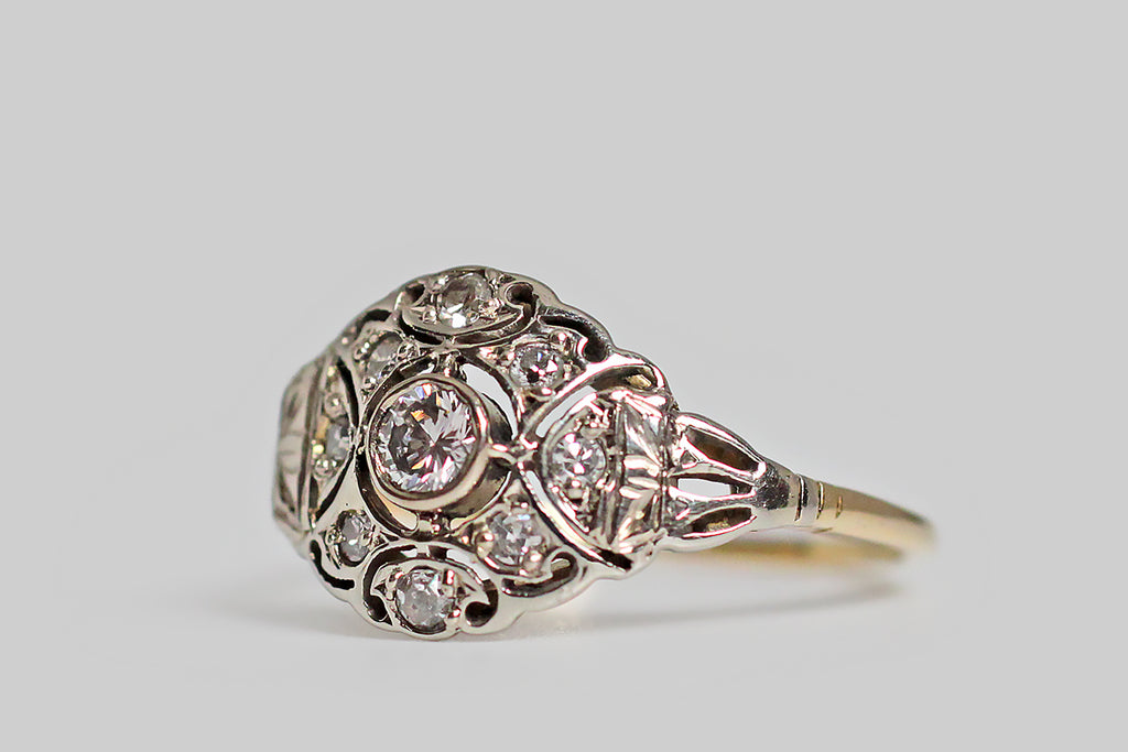 Art Deco Era Floral Compass Diamond Cluster Ring in 14k Gold
