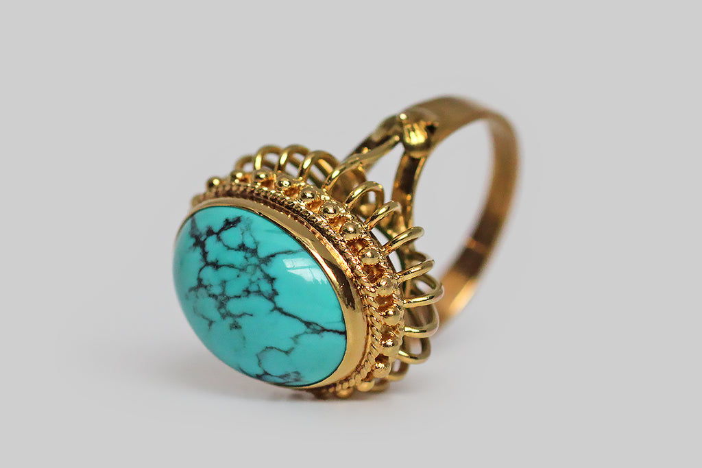 1960s Spiderweb Turquoise Wirework Pouf Cocktail Ring in 14k Gold