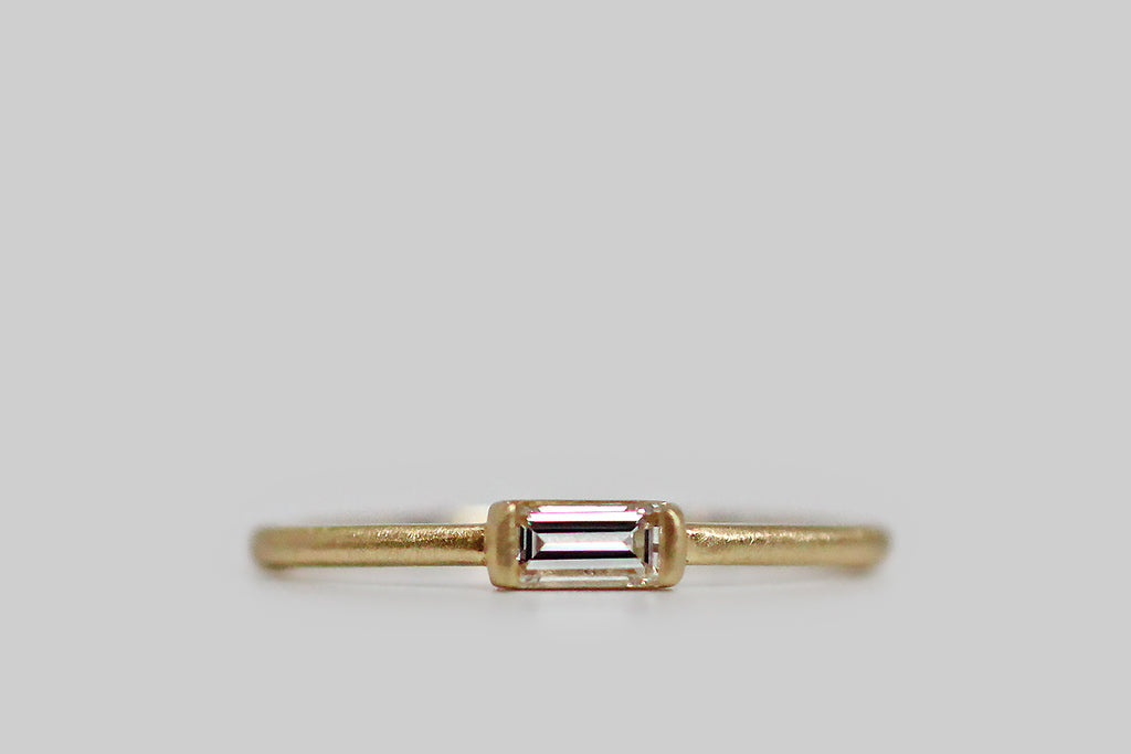 Featherweight Organic Modern Baguette Diamond Ring in 18k Gold