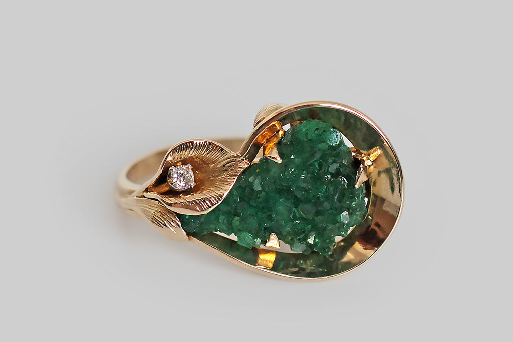 1970s Modernist Chatham Emerald Cala Lily Ring in 14k Gold