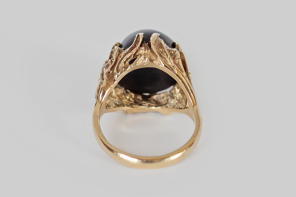 1960s Naturalist Dreamscape Star Garnet Cocktail Ring in 14k Gold