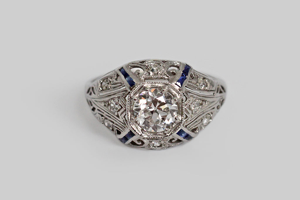Art Deco Diamond & Sapphire Filigree Bombe Engagement Ring in Platinum