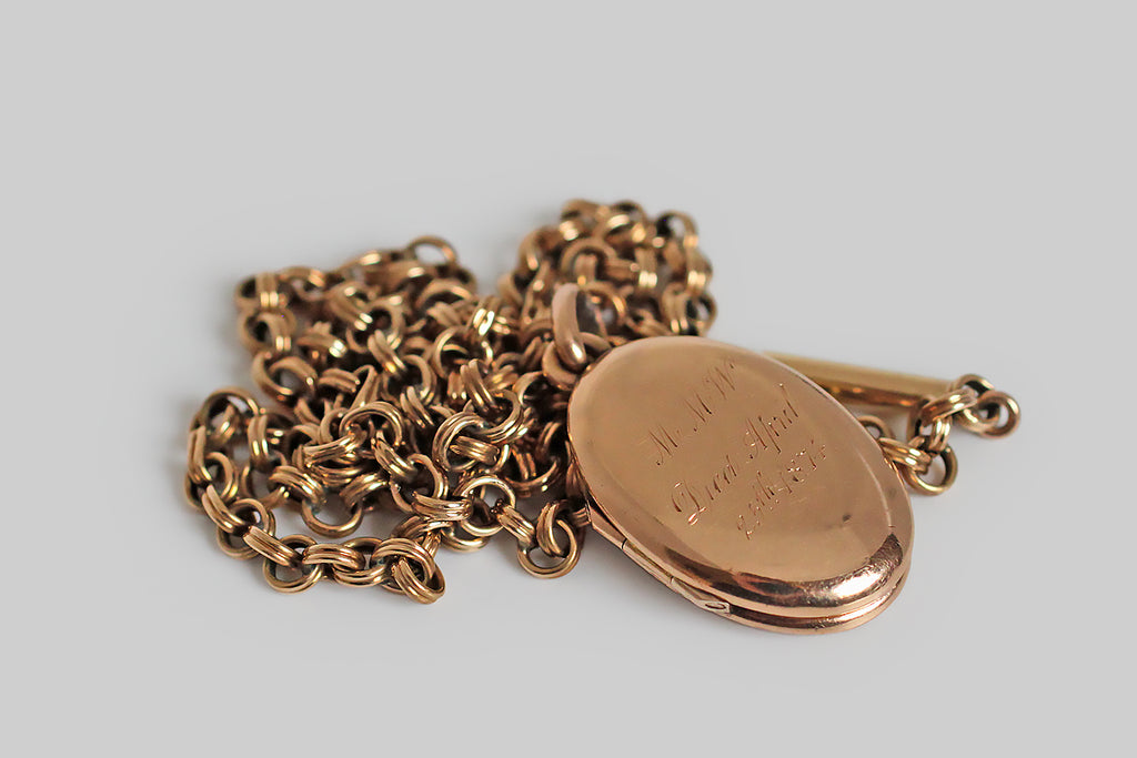 Victorian Era Nautical Anchor & Banner Memorial Locket in 14k Gold