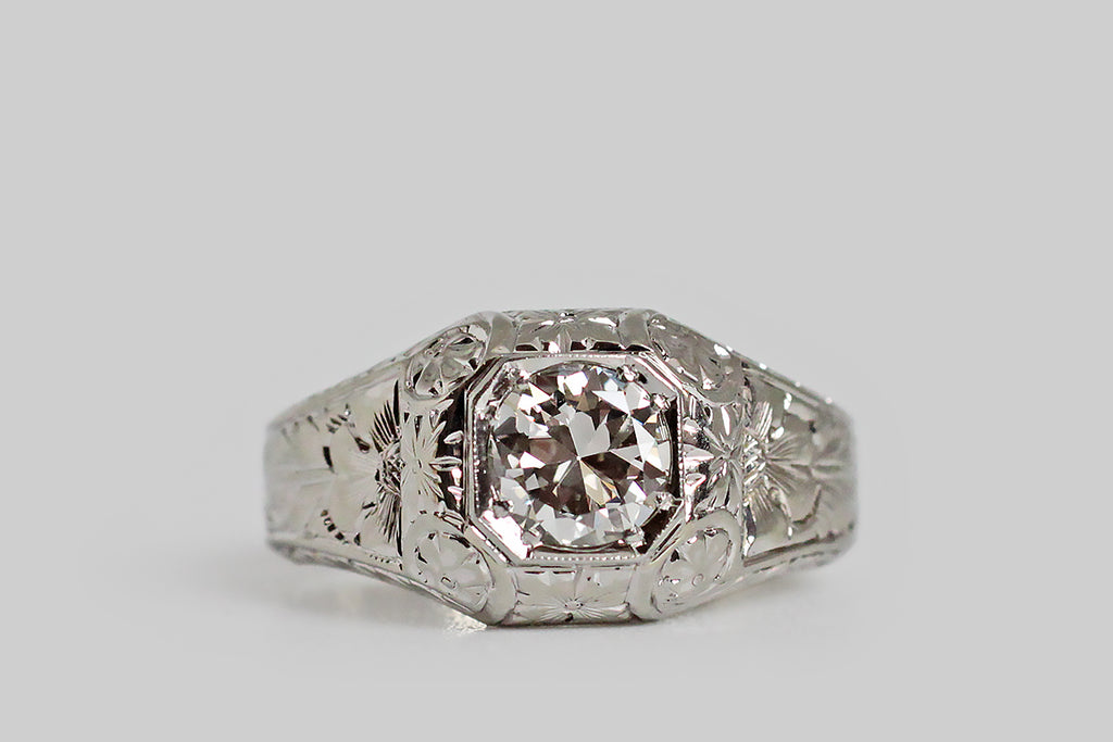 Art Deco Era 3/4 Carat Transitional Diamond Ring with Floral Engraving in 18k Gold