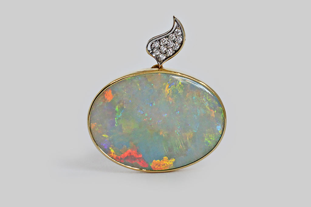 1980s Modernist Australian Opal & Diamond Pendant in 14k Gold