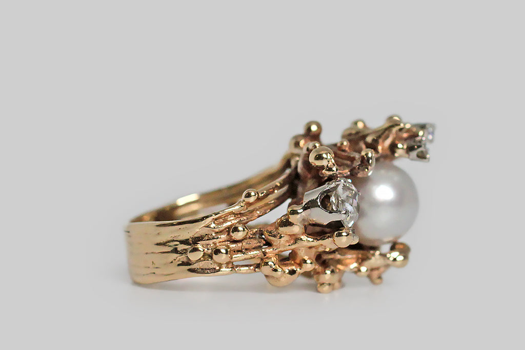 1970s Organic Modernist OMC Diamond and Pearl Nest Ring in 14k Gold