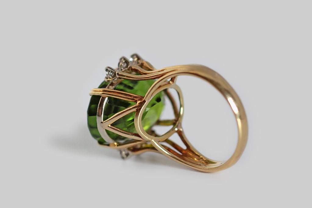 Vintage 1960s Burmese Peridot Cocktail Ring in 18k Gold