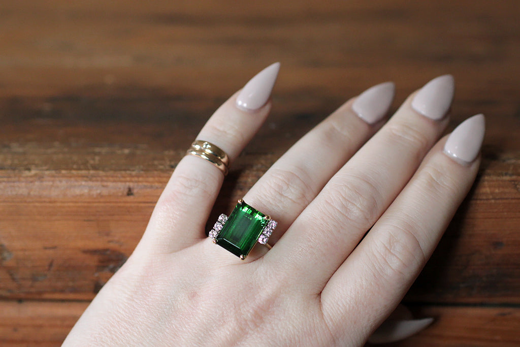 Vintage Tourmaline & Diamond Cocktail Ring in 18k Gold & Platinum