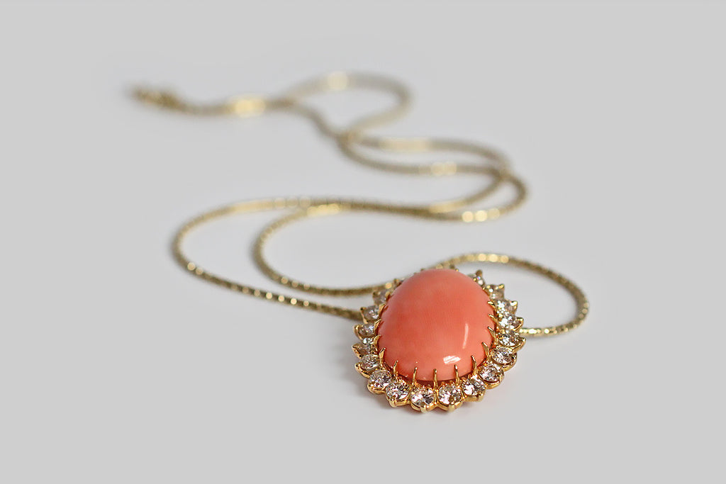 Vintage Coral Slide Pendant with Diamond Halo in 14k Gold