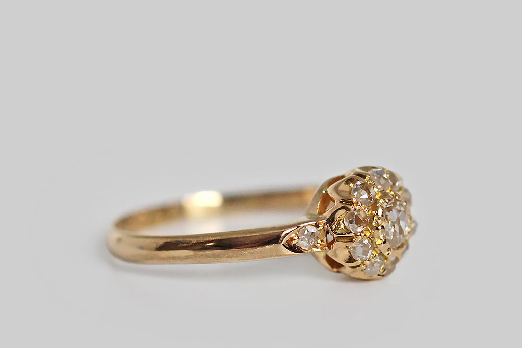 Victorian Era OMC & Rose Cut Diamond Halo Engagement Ring in 18k Gold