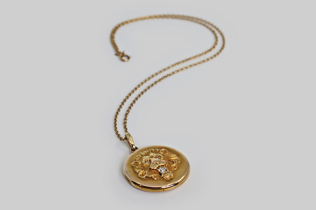 Edwardian Era Diamond Set Lion Mask Locket in 14k Gold