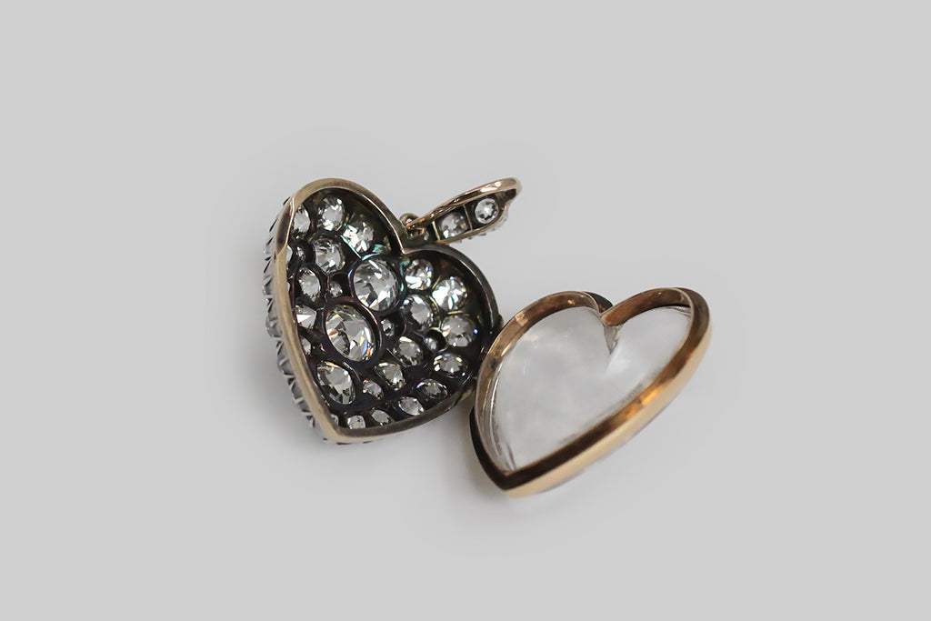 RESERVED - Victorian Era Diamond Set Heart Locket in Silver & Gold