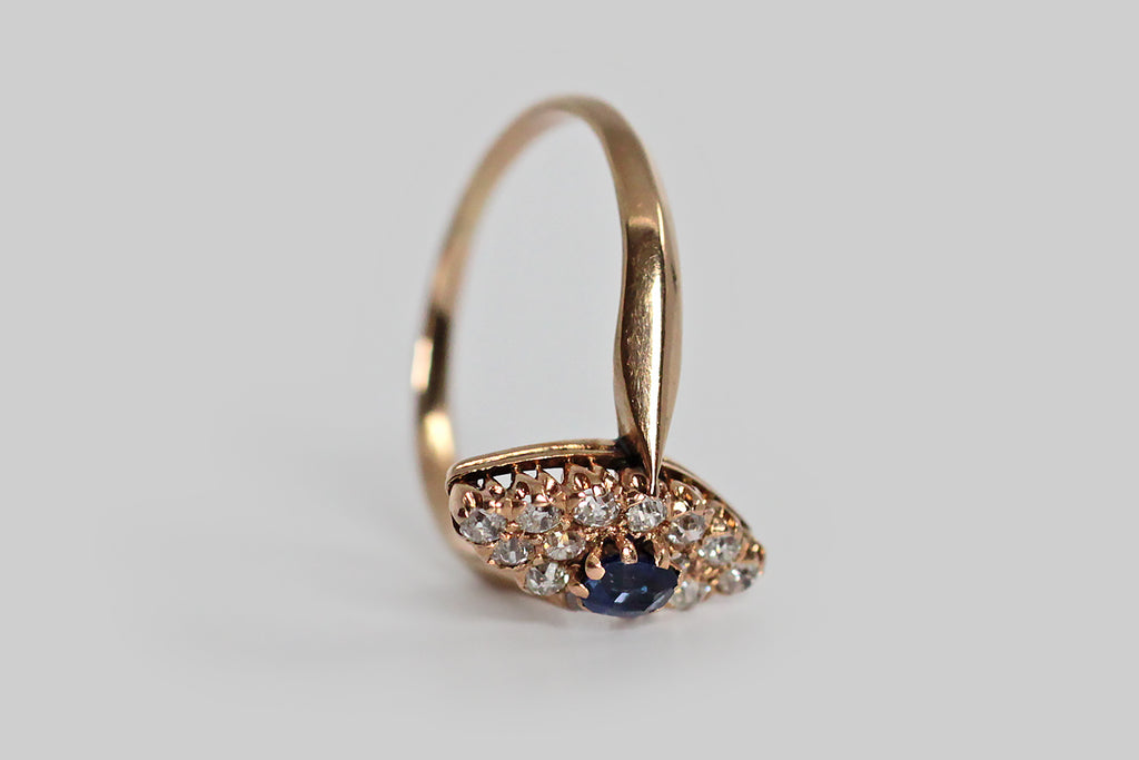 Edwardian Sapphire & Diamond Navette Ring in 14k Gold