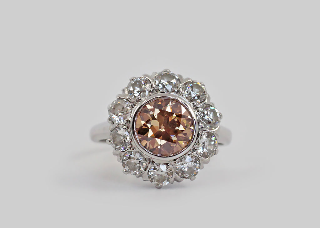 Antique Fancy Color OEC Diamond Cluster Halo Ring in Platinum