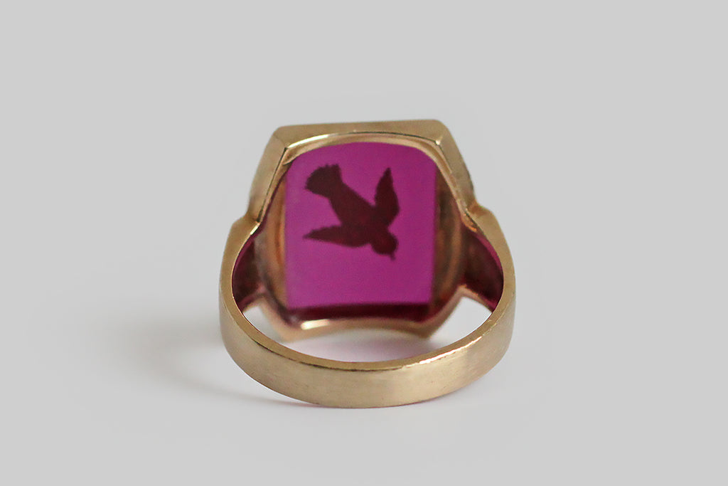 Art Deco Diving Bird Gilt Intaglio Signet Ring in 10k Gold