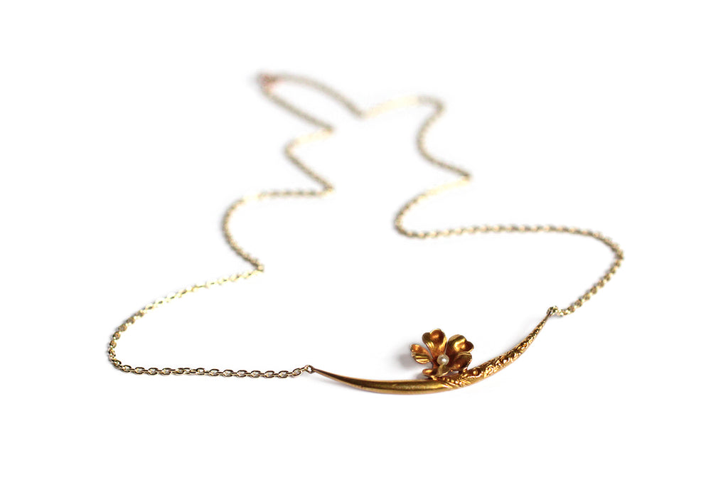 Victorian Crescent Moon Necklace with Pearl Set Flower 14k Gold