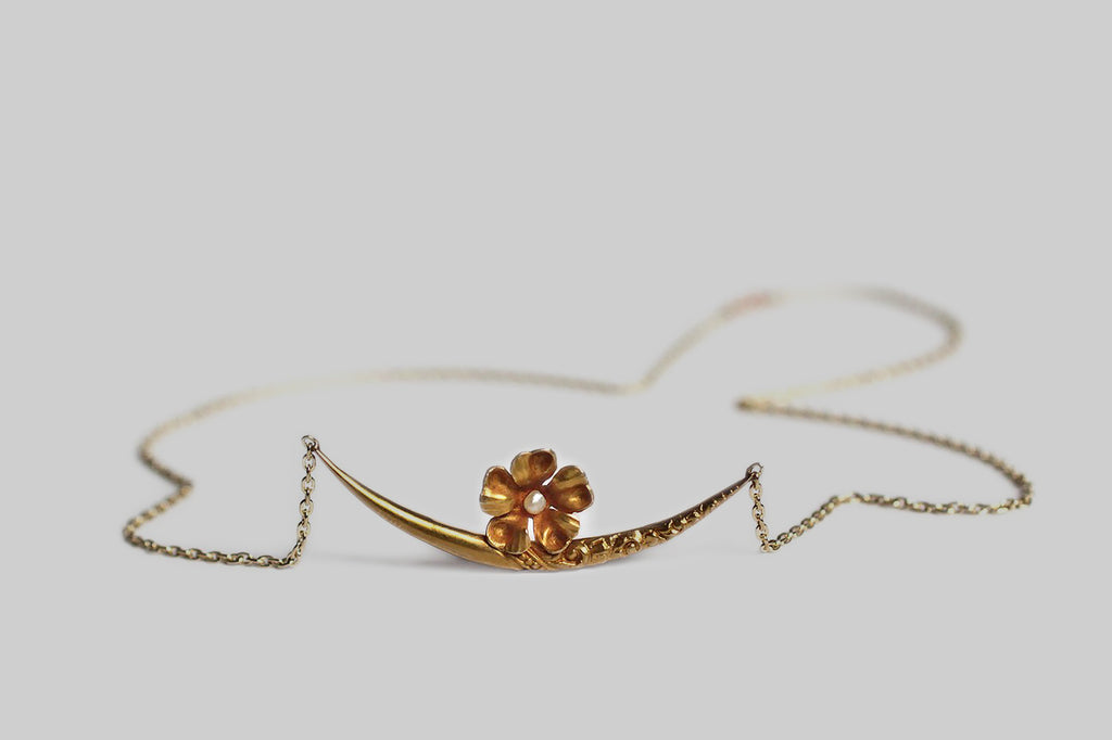 Victorian Crescent Moon Necklace with Pearl Set Flower in 14k Gold
