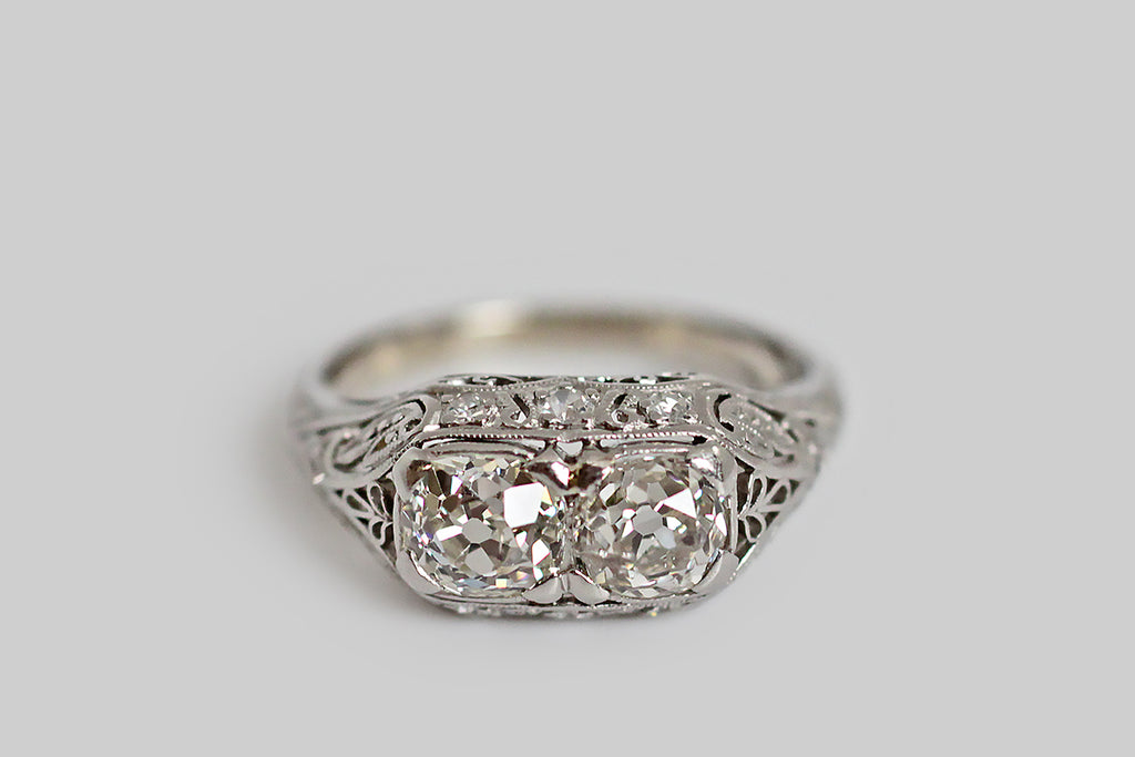 Edwardian OMC Diamond Toi Et Moi Engagement Ring in Platinum