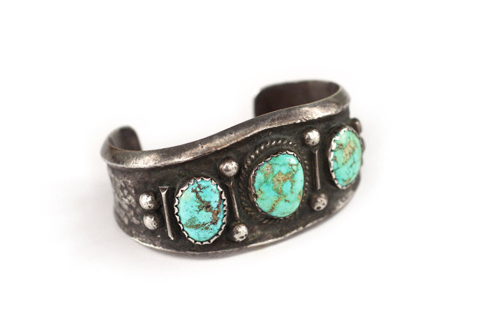 Navajo Tufa Cast Coin Silver & Turquoise Cuff Bracelet