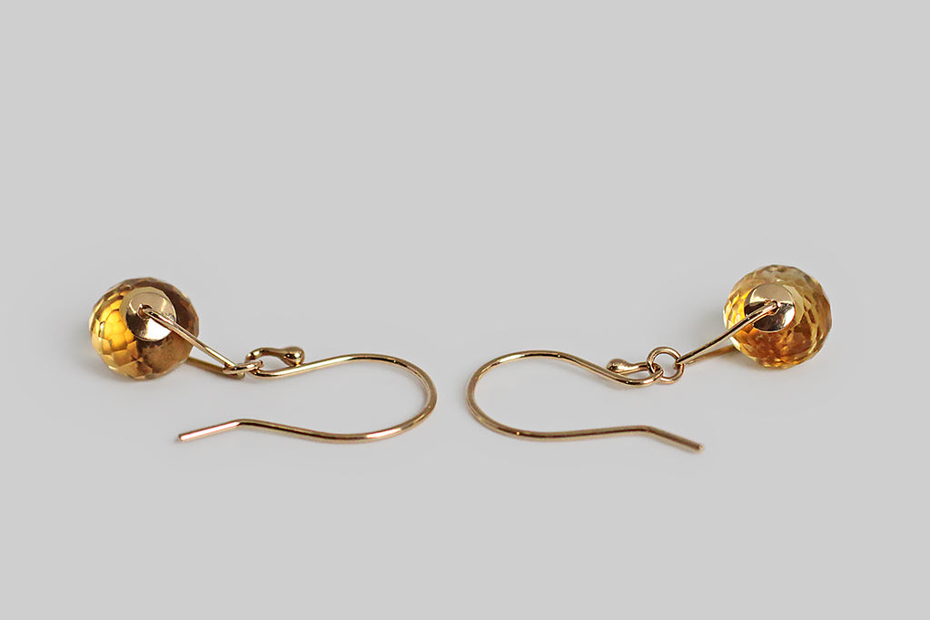 Dainty Jamie Joseph Citrine Wheel Drop Earrings in 14k Gold