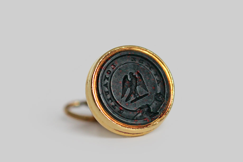 Victorian Era Aymez Loyaulte Bloodstone Intaglio Seal Fob with Falcon in 18k Gold