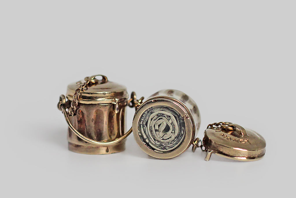 Vintage Mid Century Mad Money Trashcan Charms in Gilt Silver