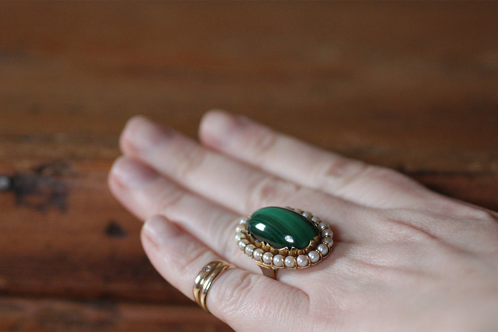 Victorian Revival Malachite & Pearl Halo Ring in 14k Gold