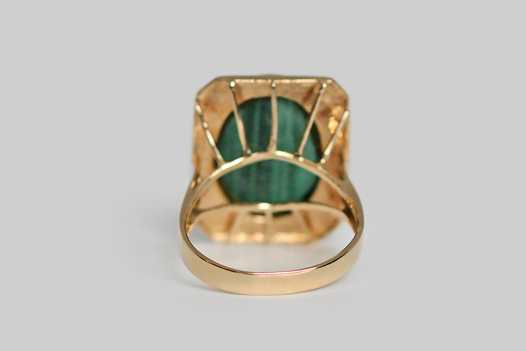 Mid 20th Century Geometric Malachite Cocktail Ring in 14k Gold