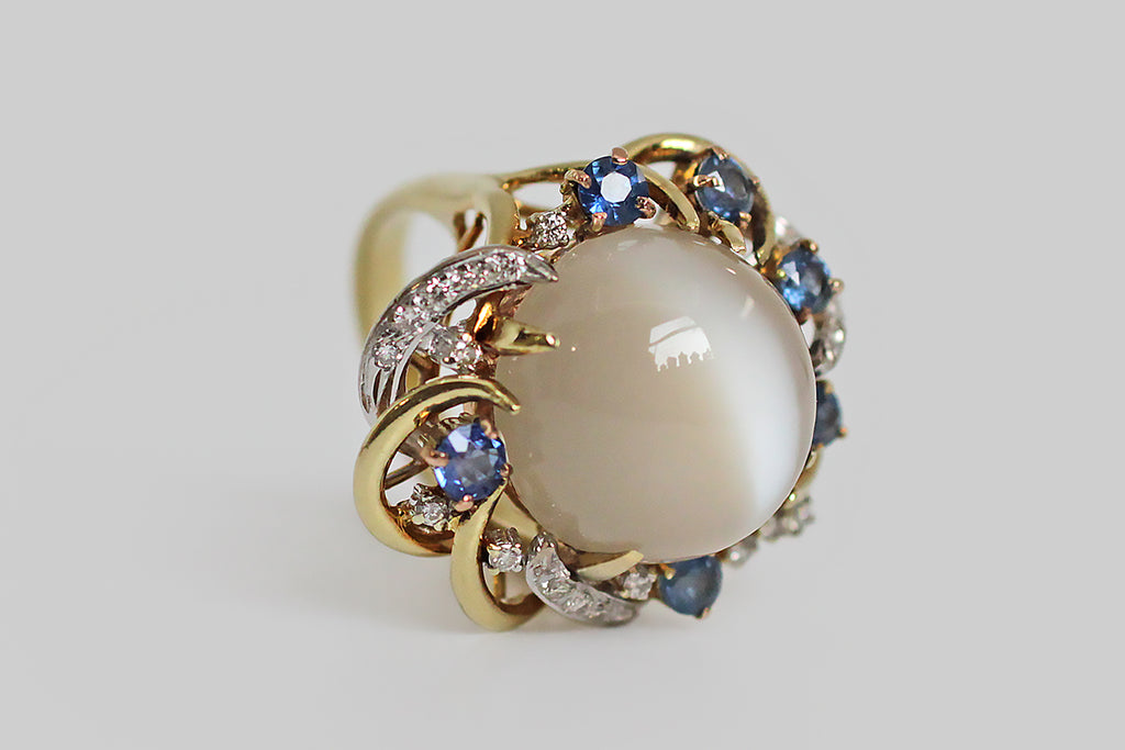 1960s Cat's Eye Moonstone Cocktail Ring in 14k Gold & Platinum