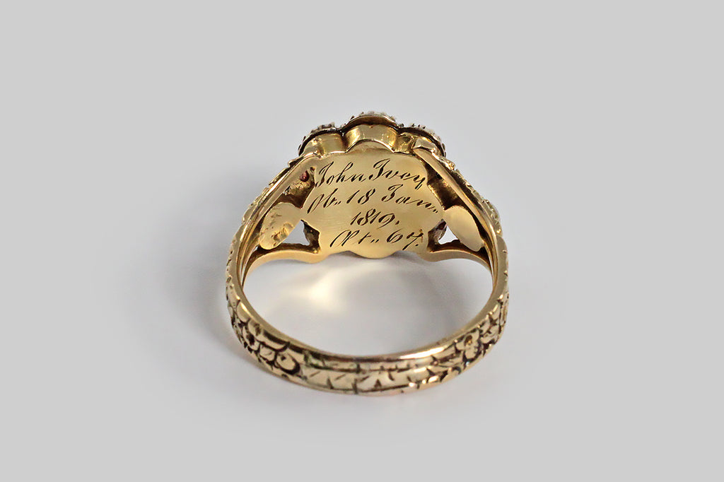 Georgian Era Pearl & Enamel Mourning Ring for John Ivey in 18k Gold
