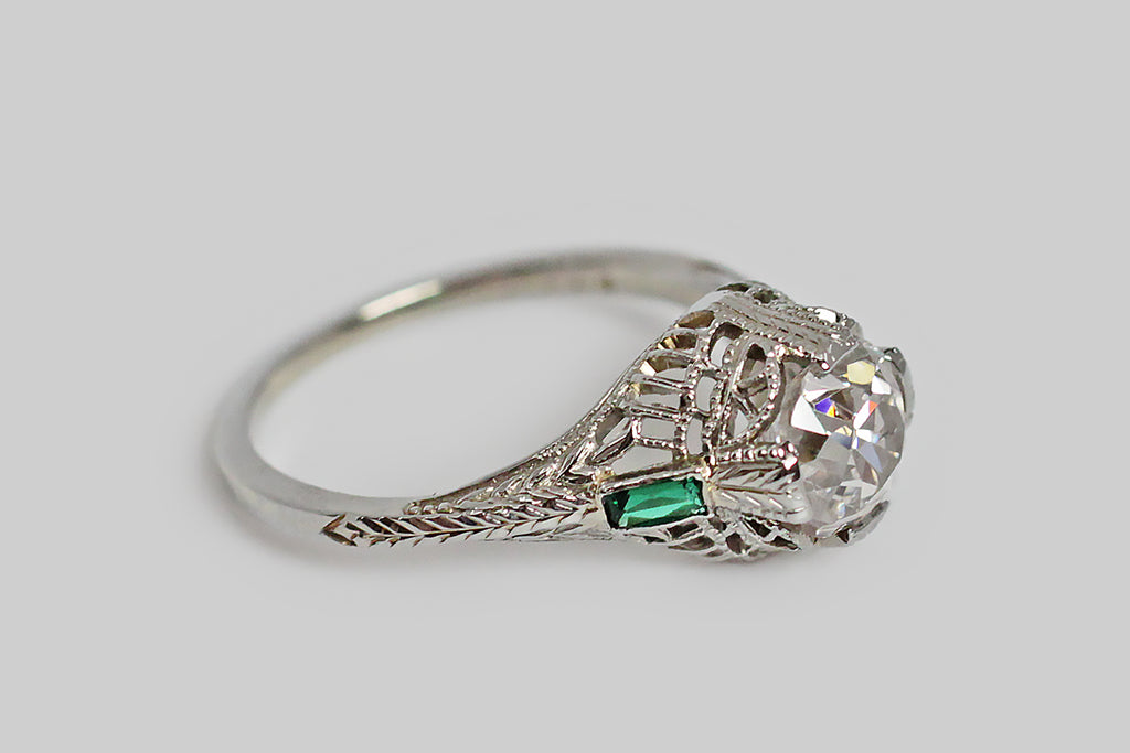 Art Deco Era 1.38 Carat OMC Diamond Engagement Ring in 18k Gold