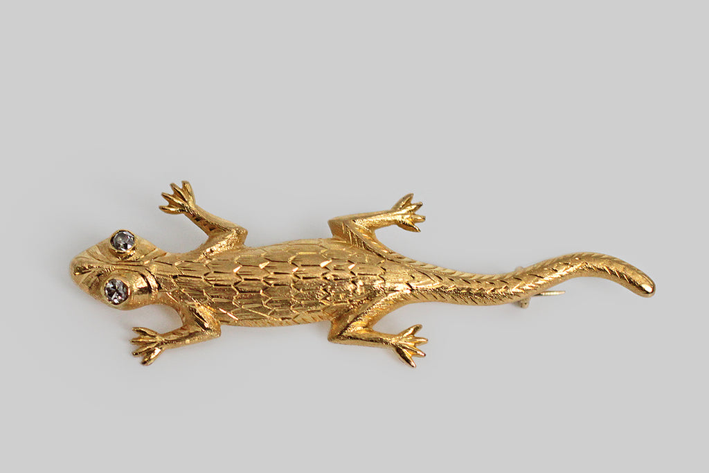 Victorian Diamond Eyed Lizard Brooch in 14k Gold